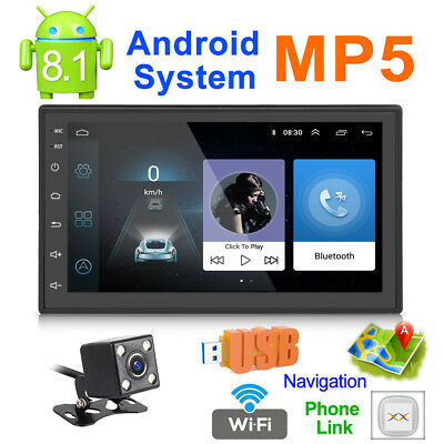 """Android 8.1 7""""Double 2 Din Car CD DVD Player MP5 FM Radio Stereo GPS Camera"""