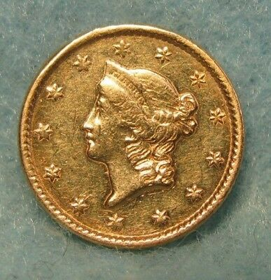1851 LIBERTY HEAD $1 US GOLD COIN XF Details