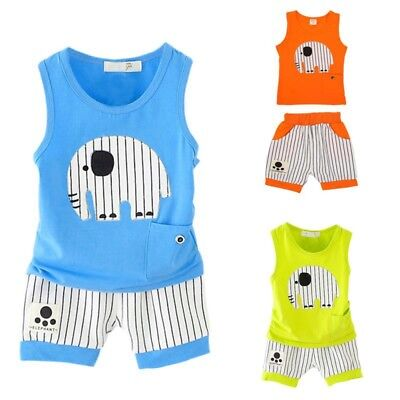 1-5Y Toddler Kids Baby Boys Summer Vest Tops+Shorts Pants Outfits Clothes Sets