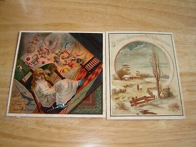 WOOLSON SPICE COMPANY CHRISTMAS VICTORIAN TRADE CARDS set of 2 lion coffee