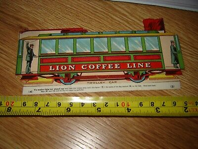VICTORIAN TRADE CARD LION COFFEE TROLLEY CAR paper toy