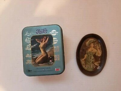 Vintage Pepsi Cola Tin Oval Serving Tray Victorian Lady's. Made In USA .