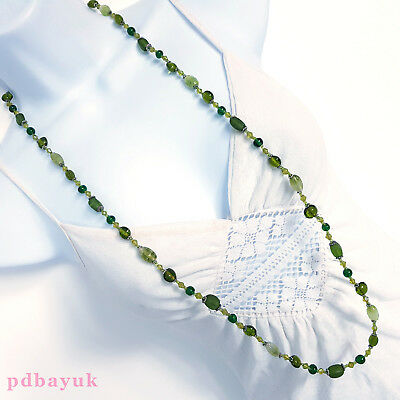 """LONG Ethnic Style Mixed Green Glass Silver Tone Bead Necklace 101.5cm 40"""" ~ 2429"""