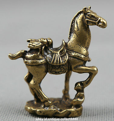 """2.2"""" Collection Curio Chinese Bronze Auspicious Animal Horse Fly Small Statue马上赢"""