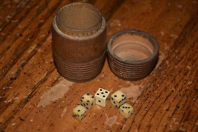 Vintage Handmade Bone Dice Game With Wood Holder Barrel 5 Die