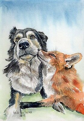 Dog And Fox Are Friends Forever original watercolor animal painting pet vixen