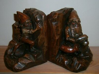 Pair antique carved wooden book ends Gnomes black forest anri type carving