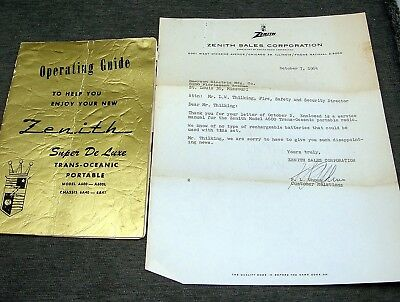 Vintage Zenith Super DeLuxe Trans Oceanic Portable Radio Manual Guide Letter