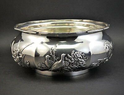 c1890, WANG HING, QUALITY ANTIQUE 19thC CHINESE EXPORT SOLID SILVER BOWL, 382g