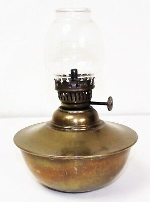 Antique victorian brass bedside oil lamp table top