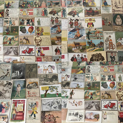 BIG LOT OF OLD ANTIQUE COMIC HUMOR funny ~POSTCARDS-1900's-All In Sleeves-a559