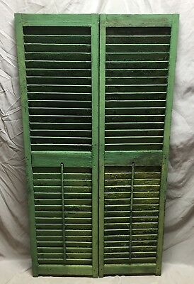 Medium Pair Antique House Window Wood Louvered Shutters 16X60 Shabby Vtg 59-19D