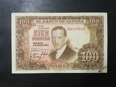1953 Spain Paper Money - 100 Pesetas Banknote!