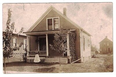 Antique 1910 Rppc Real Photo Proud Lady Stands In Front Of Her Home