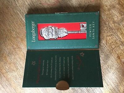Collectible Longaberger Pewter Santa Key 2002 in Christmas Holiday box unopened