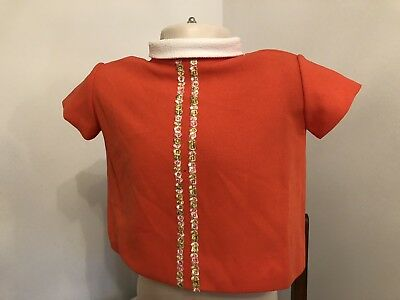 Vintage 60's Orange Baby GirLs Tunic Age 1/2 Approx deadstock So Never Worn