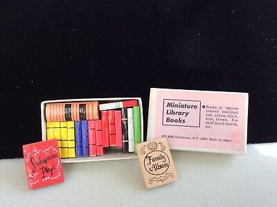 Dollhouse miniature vintage box of library books Shackman/ Japan