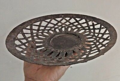 Vintage Wrought Iron Riveted Old Hand Crafted Round Shape Tribal Basket R1