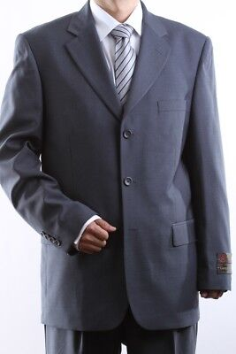 Men's Single Breasted 3 Button Gray Dress Suit Size 40S, Pl-60513-Gre
