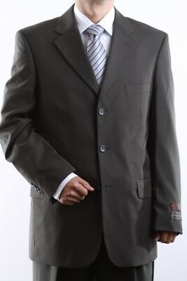 Men's Single Breasted 3 Button Olive Dress Suit Size 42S, Pl-60513-Oli