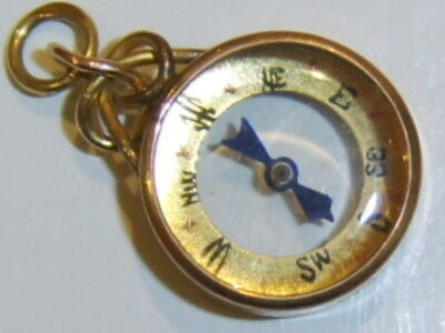 Antique Edwardian 9ct gold compass fob charm pendant hallmarked CHESTER 1898