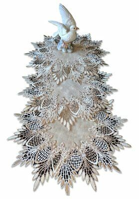 """12""""  Doilies Set of Three EARTH FEATHER LACE Neutral Earth Tone Doily"""
