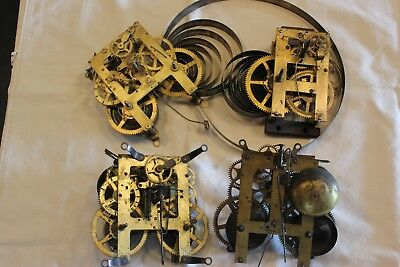 Lot Misc. Clock  Works E. Ingraham, Sessions And Two Unknown For Parts Or Repair