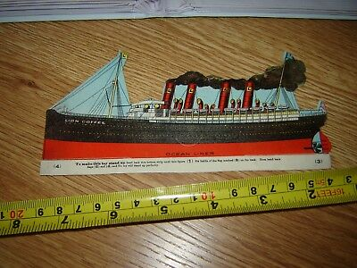 VICTORIAN TRADE CARD LION COFFEE paper toy ocean liner