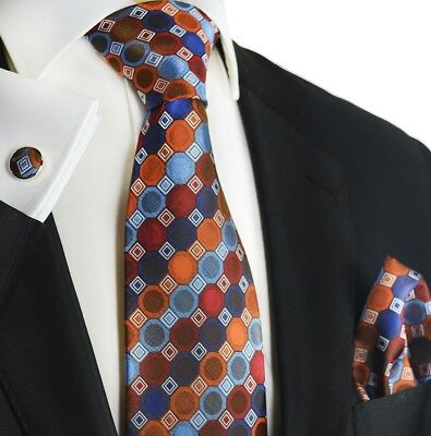 fc344153e149 Genuine Paul Malone Orange Patterned Silk Necktie, Pocket Square and  Cufflinks