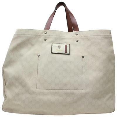8f9574bcd033 Gucci Extra Large Signature Travel White Coated Canvas Tote 866649