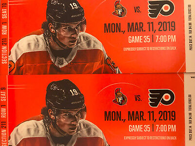 (2) Philadelphia Flyers vs. Ottawa Senators tickets 3/11/19 1st Row Mezzanine