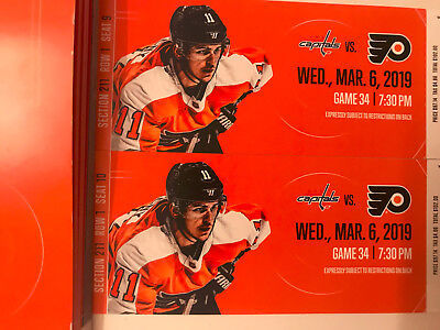 (2) Philadelphia Flyers vs. Washington Capitals tickets 3/6/19 1st Row Mezzanine