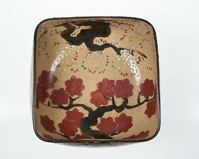 Antique Japanese blossom square section pottery bowl