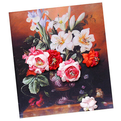 Handmade Ribbon Embroidery Kits DIY Lily Bouquet Painting Wall Decoration