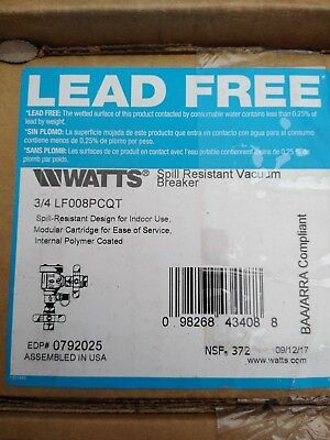 "Watts 3/4 LF008PCQT 3/4"" Spill Resistant Vacuum Breaker"