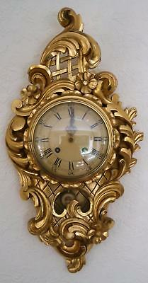 Carved Giltwood Cartel  Wall Clock by Westerand Eight Day Striking Clock