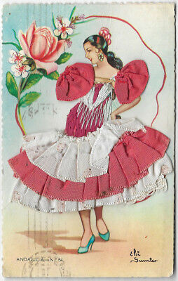 P96/3] 'Andalucia No 84' embroidered card 1960s posted (Ripoll, 84)