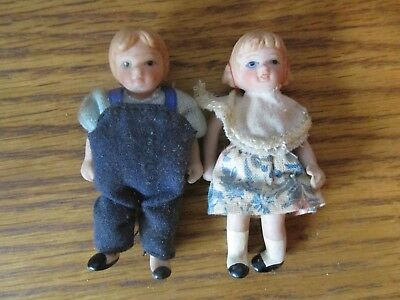 Vintage China Dolls Miniature For Dolls House Children Boy and Girl  3 inches