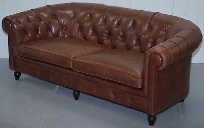 Very Rare Rrp £6999 Bfelix Chesterfield Silky Soft Italian Brown Leather Sofa