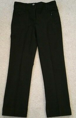 M&S girls lovely smart black Fitted trousers Age 7-8Yrs in vgc as shown
