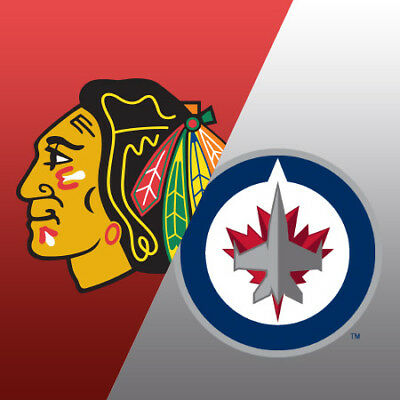 2 Tickets Chicago Blackhawks vs Winnipeg Jets 4/1/19 - AISLE