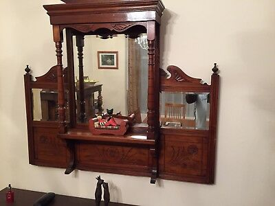 Late Victorian Edwardian Over Mantle Mirror. Beautiful deep mahogany wood.