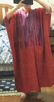 """Caftan made in Oaxaca Mexico in 70""""s. Red with ribbons One size unique"""