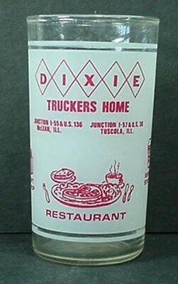 "Dixie Truckers Home Frosted Advertising Drinking Glass 4 3/4"" Tall s"