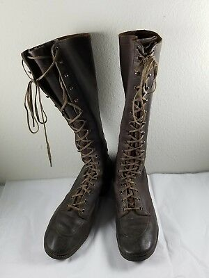 Womens c.1920s Tall Vintage RED WING Lace-Up Leather Hiking Boots
