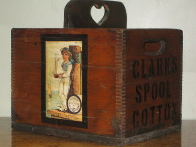 Antique Clark's Spool Cotton Solid Wooden Create With Pictures on Box Great Cond