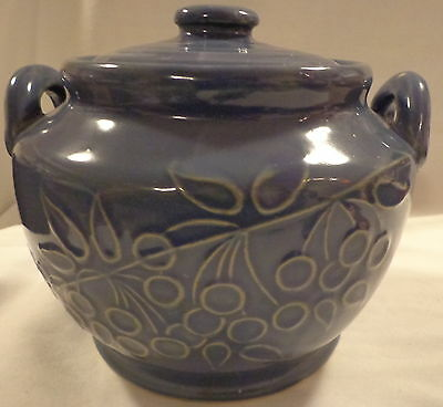 Glazed Pottery Bean Pot Cookie Jar Old Stoneware Yelloware Ceramic Blue Berries