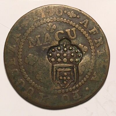 1837 PORTUGUESE ANGOLA 1/2 MACUTA Counterstamped Coutermarked Africa Cull Worn