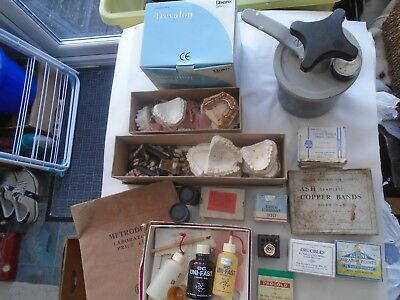 large collection of vintage DENTIST items including teeth moulds & lots more