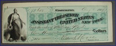 Vintage 1867 Assistant Treasurer Of The United States, New York Banknote